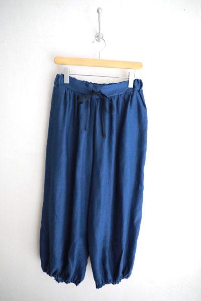 リネン裾ギャザーパンツ